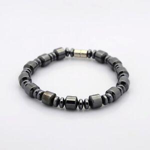 Natural Magnetic Hematite Column Rondelle Bracelet with Magnetic Clasp UK