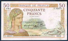 FRANCE - 50 FRANCS CÉRÈS Fayette n° 18.39 du 22-2-1940.OA en TTB U.12577 061