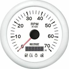 WHITE TACHOMETER 7000 RPM & DIGITAL HOUR METER & 4 LED ALARM OUTBOARD INBOARD