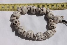 Hand Crafted Halloween Holiday Creepy Skull Bracelet Stretchy Cord