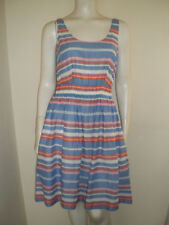 BODEN Striped Summer Dress Blue/Orange/Pink/White Elasticated Waist UK 8R USA 4R