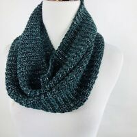 Womens Circle Scarf Loop Infinity Snood Cable Knit Green Metallic One Size USA
