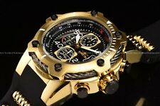Invicta Men 52mm Bolt Chronograph Gold Black Compass polyurethane strap Watch