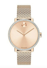Movado Bold 3600657 Gold Tone Mesh Band Crystal Swiss Women's Watch Box & Papers