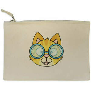 'Cat With Glasses' Canvas Clutch Bag / Accessory Case (CL00022586)