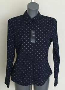 Ladies M&S Sizes 12 14 Navy Mix Cotton Rich Stretch Long Sleeve Blouse Bnwt