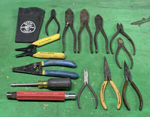Lot 14  Electrician Tools Klein 3/16 Nut driver Pliers Needle Nose Linesman Dyke