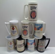 8 Vintage Thermo Serv Beer Mugs Budweiser Coors Michelob Bud Natural Lite 16 oz