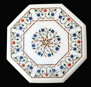 White Marble Coffee Table Top with Inlay Work Side Table Floral Design 15 Inches