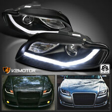 Fits 2006-2008 Audi A4 Black BMW Style LED DRL Strips Projector Headlights Lamps
