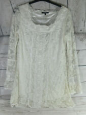 Stella  vintage Style Sheer Lace Lined Tunic boho Dress Top Size L With Tags
