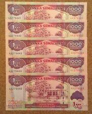 Lote de 5 X BILLETES SOMALIA. 1000 chelines. publicaciones seriadas consecutivos