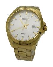 Seiko Quartz SUR054 Mens Yellow Gold Tone Stainless Steel 100M Date 42mm Watch
