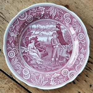 VTG SPODE Archive Collection CRANBERRY RED TRANSFERWARE Dinner Plate WOODMAN Exc