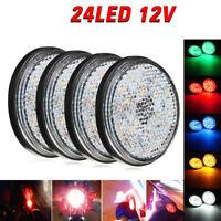 2x Universal Car Motorcycle Round Reflector LED Rear Tail Brake Stop Light Lamp