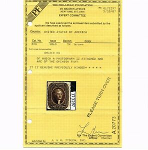 EXCEPTIONAL GENUINE SCOTT #30A F-VF MINT OG LH PF CERT 1860 BROWN TYPE-II