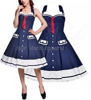 Vintage Style Sailor Navy Blue Nautical Halter Dress 50s Rockabilly Pinup Retro
