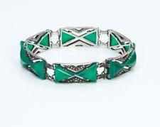 Vintage Art Deco Sterling Silver Green Onyx Marcasite Bracelet