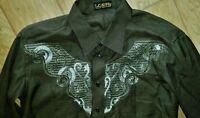 Fancy Embroidered Sequined Western Cowboy Shirt Lightweight Long Sleeve Men's XL