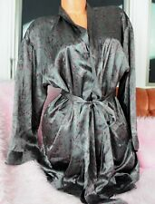 45a94f4498 Victoria s Secret Gray Pink Asian Floral Print Classy Nightgown Coverup Robe  OS