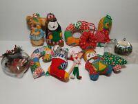 Handmade Christmas Ornaments Mice,dog,bear,reindeer Currier&ives Vintage Lot
