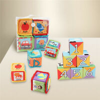 Baby Cloth Block Rattles Colorful Cube Cartoon Animal Safe Educational Toy