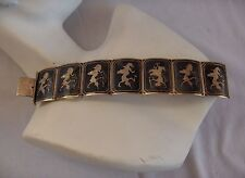 Vintage Antique Sterling Silver 7  Link Bracelet  Female Siamese Dancers NICE