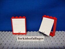 2x Lego Red 1x4x4 Frame w/White LIFT DOOR Fire Truck Garage #6571 #7239 Doors