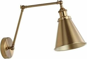 """JONATHAN Y Rover 7"""" Gold Adjustable Arm Metal Brass LED Wall Sconce"""