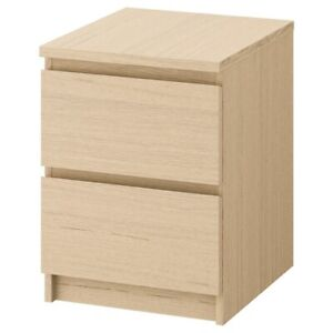 """Brand New IKEA MALM Oak Stained 2-Drawer Nightstand 15 7/8x21 5/8"""" 101.786.01"""