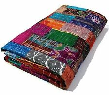 Indian silk kantha quilt patola reversible bedspread blanket bedding cover throw