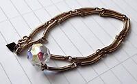 Sarah Cov Gold Tone Chain Crystal Stone Bead Pendant Necklace