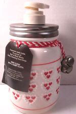 Bath & Body Works Ceramic Mason Jar  Soap Dispenser Pump Hearts Bells