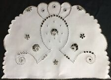 More details for lovely vintage linen hand embroidered madeira tea cosy cover~cutwork/floral