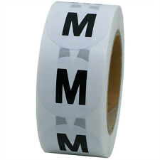 White Round Clothing Size Stickers M -Medium Adhesive Labels For Retail Apparel