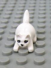 LEGO NEW WHITE CAT Crouching with Eyes Eyelashes Pet Kitten Kitty Animal Figure