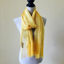 NEW FASHION GOLD SOLID COLOR WITH FRINGE POLYESTER OVERSIZED SCARF