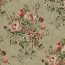 Wallpaper Large Floral in Vase Lavender Pink Black Green Yellow on Taupe Faux