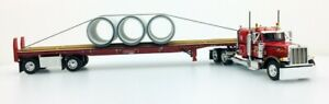 """DCP 1:64 LeFebvre Peterbilt 379 36"""" Flat Top W/ 3 72"""" Pipe Load On Flat Bed"""