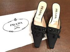 PRADA Black Beaded Satin Slides Mules Kitten-Heels Shoes w/Dust-Bag US Size 6
