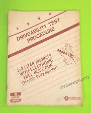 1984 Chrysler Dodge 2.2L EFI Diagnostic Service Manual Daytona Laser New Yorker