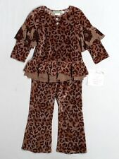 New Girl The Big Citizen Brown Velour Leopard Top Pants Set Fall Winter Size 4