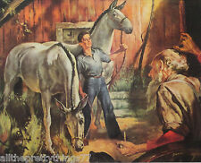 Gray MULES w- BOY Old Man & Dog BARN Farm Art Vintage 1954  MATTED Picture