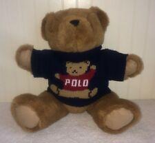 "Ralph Lauren Polo Teddy Bear Blue Red Knit Sweater Stuffed 15"" Jointed Vtg 1997"