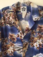 Hilo Hattie Hawaiian Shirt Palm Trees Hibiscus Ukulele Hawaii Men's XL Flaw Note