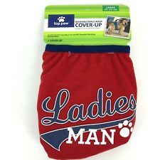 "Top Paw Washable Male Dog Wrap Cover-Up Diaper Belly Band Large Red ""Ladies Man"""