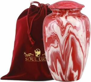 Funeral Urn by SOULURNS® - Red Marble Finish Cremation Urns for Human Ashes