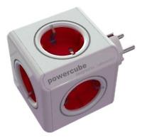 allocacoc PowerCube Original Rot, Reiseadapter & 5x Steckdose und Verteiler