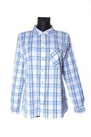 Women's ORVIS Blue & White Windowpane Check Cotton Button Front Shirt Size M