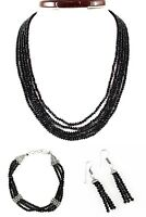 Natural 5 Strand Black Spinel Round Faceted Beads Handmade Necklace & Bracelet